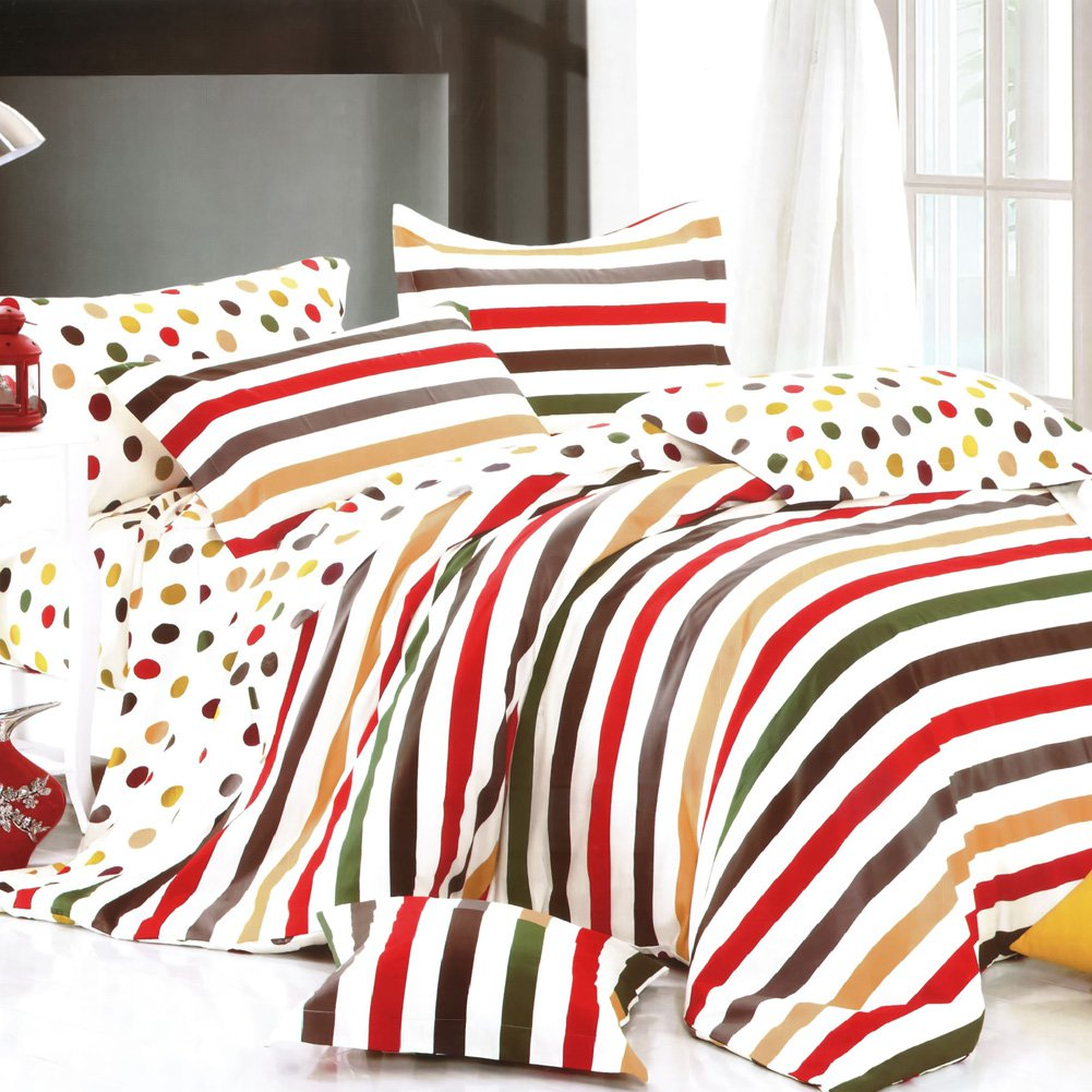 MF01073-3 [Rainbow Dots & Stripe] 100% Cotton 4PC Comforter Cover/Duvet Cover Combo (Queen Size)