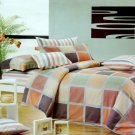 MF01074-3 [Modern Plaid] 100% Cotton 4PC Comforter Cover/Duvet Cover Combo (Queen Size)