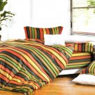 MF01076-3 [Colorful Stripe] 100% Cotton 4PC Comforter Cover/Duvet Cover Combo (Queen Size)