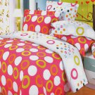 YG01003-3 [Coral Red] 100% Cotton 4PC Comforter Cover/Duvet Cover Combo (Queen Size)