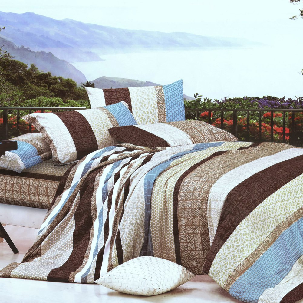 ZT01006-1 [Wonderful Life] 100% Cotton 3PC Comforter Cover/Duvet Cover Combo (Twin Size)