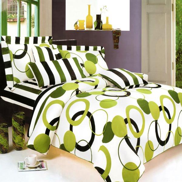 CFRS(MF29-1/CFR01-1) [Artistic Green] Luxury 6PC MEGA Comforter Set Combo 300GSM (Twin Size)