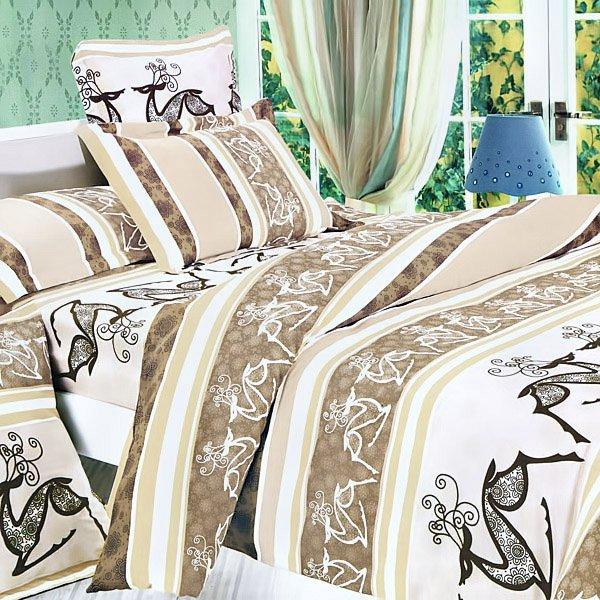 CFRS(MH04-4/CFR01-4) [Beige Deer Totem] Luxury 5PC Comforter Set Combo 300GSM (King Size)