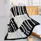 ONITIVA-BLK-088 [Fashion Stripes] Stylish Patchwork Throw Blanket (61 by 86.6 inches)