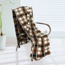 BLK-KRY005 [Trendy Plaids - Brown/Black/White] Soft Coral Fleece Throw Blanket (71 by 79 inches)