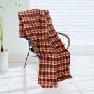 BLK-KRY006 [Trendy Plaids - Brown/Cream/Orange] Soft Coral Fleece Throw Blanket (71 by 79 inches)