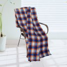 BLK-KRY012 [Trendy Plaids - Blue/Orange/White] Soft Coral Fleece Throw Blanket (71 by 79 inches)