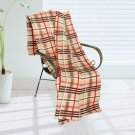 BLK-KRY034 [Trendy Plaids - Khaki/Brown/Red] Soft Coral Fleece Throw Blanket (71 by 79 inches)