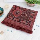 TB-BLK008 [Deer in Mythology - Dark Red] Jacquard Weave Blanket / Tapestry / Area Rug (59.1 by 86.7