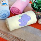 TB-BLK011-HIPPO [Purple Hippo - Yellow] Fleece Baby Throw Blanket (29.5 by 39.4 inches)