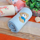 TB-BLK012-BEAR [Brown Bear - Blue] Fleece Baby Throw Blanket (29.5 by 39.4 inches)