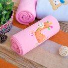 TB-BLK014-GIRAFFE [Orange Giraffe - Pink] Fleece Baby Throw Blanket (29.5 by 39.4 inches)