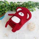 TB-BLK015-DARKRED [Happy Bear - Dark Red] Fleece Baby Throw Blanket (42.5 by 59.1 inches)