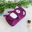 TB-BLK015-PURPLE [Happy Bear - Purple] Fleece Baby Throw Blanket (42.5 by 59.1 inches)