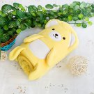 TB-BLK015-YELLOW [Happy Bear - Yellow] Fleece Baby Throw Blanket (42.5 by 59.1 inches)