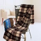 TB-BLK022 [Scotch Plaids - Dark Brown] Soft Coral Fleece Throw Blanket (71 by 79 inches)