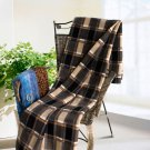 TB-BLK025 [Scotch Plaids - Black/Yellow] Soft Coral Fleece Throw Blanket (71 by 79 inches)