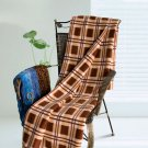 TB-BLK037 [Scotch Plaids - Brown/Cream/White] Soft Coral Fleece Throw Blanket (71 by 79 inches)