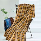 TB-BLK048 [Yellow/Blue Plaids] Soft Coral Fleece Throw Blanket (59 by 71 inches)