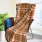 TB-BLK049 [Brown/Green Twills] Soft Coral Fleece Throw Blanket (59 by 71 inches)