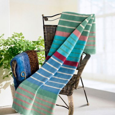 TB-BLK059 [Multicolor Stripes] Soft Coral Fleece Throw Blanket With Fringe (59 by 79 inches)