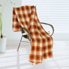 TB-BLK060 [Trendy Plaids - Light Brown/Orange/White] Soft Coral Fleece Throw Blanket (71 by 79 inche