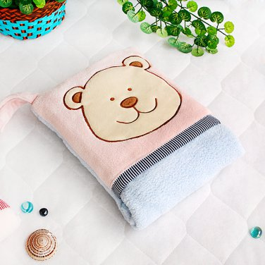 TB-CB002-PINK [Pink Bear] Fleece Throw Blanket Pillow Cushion (28.3 by 35.1 inches)
