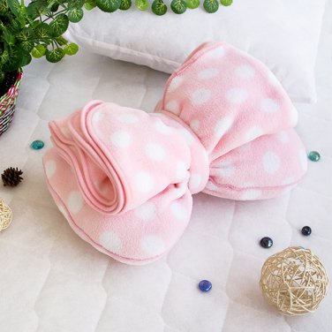 TB-CB004 [Pink Bow] Fleece Throw Blanket Pillow Cushion (29.5 by 35.4 inches)