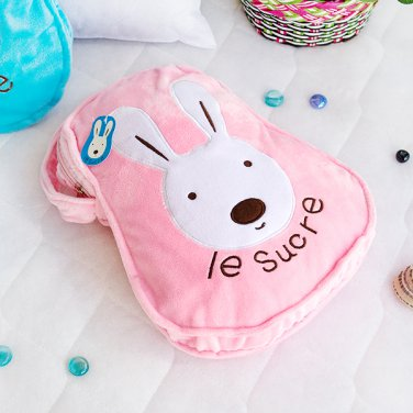 TB-CB006-PINK [Sugar Rabbit - Pink] Throw Blanket Pillow Cushion (25.2 by 37 inches)