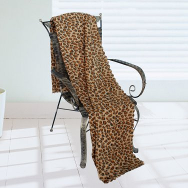 WNZJ-BLK008 [Leopard Print] Soft Coral Fleece Throw Blanket (59 by 74.8 inches)