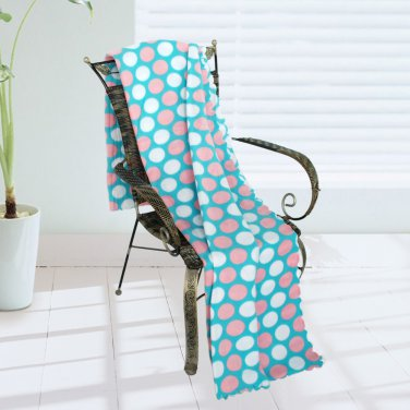 WNZJ-BLK009 [Pink & White Dots] Soft Coral Fleece Throw Blanket (59 by 74.8 inches)