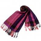 Pa-33-1 Pink Lovely Little Flower Patterns & Stripe Mix-Style Tassel Ends Silky Pashmina