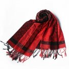 Pa-33-2 Red Lovely Little Flower Patterns &Stripe Mix-Style Tassel Ends Silk Pashmina