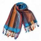 Pa-301-1 Exquisite Stripes Nation Totem Revitalized Style Tassel Ends Silk Pashmina