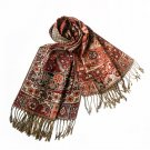 Pa-603-5 Tangerine Tone Little Blossoms&Checks Design Revitalized Style Tassel Ends Silk Pashmina