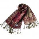 Pa-604-1 Paisley & Flower Mix-pattern Revitalized Style Luxurious Silky Soft Pashmina