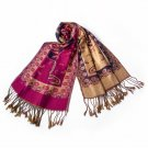 Pa-612-6 Big Flower Pattern Exquisitely Soft Woven Pashmina