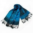 Pa-615-1 Blue BaseFlower Patterns Elegant super Soft Woven Tassel Ends Pashmina