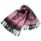 Pa-615-2 Pink Base Flower Patterns Elegant Super Soft Woven Tassel Ends Pashmina