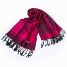 Pa-615-3 Fuchsia Base Flower Patterns Elegant Super Soft Woven Tassel Ends Pashmina