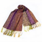 Pa-a54-4 Purple Special Flowers Pattern Elegant Extra Soft Woven Pashmina