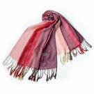 Pa-a64-3 Pink Base Butterfly & Flowers Patterns Elegant Soft Woven Pashmina