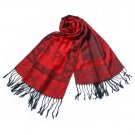 Pa-a66-1 Red Big Butterfly & Flower Elegant Exquisitely Soft Tassel Ends Pashmina