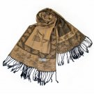 Pa-a66-2 Khaki Big Butterfly & Flower Elegant Exquisitely Soft Tassel Ends Pashmina
