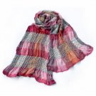 Pa-a87 Pink Checks Arcadian Style Cute Silky Soft Woven Tassel Ends Pashmina