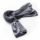 BRA-SCA01004-L Brando Graceful Black & White Plover Design Silk Scarf(Large)
