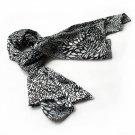 BRA-SCA01009-S Brando Black & White Distinctive Leopard Animal Print Soft Silk Scarf(Small)