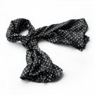 BRA-SCA01012-S Brando Black Background Small Cute White Dot Design Soft Silk Scarf(Small)