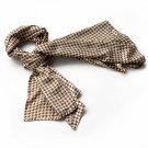 BRA-SCA01013-S Brando Nobel Brown Plover Design Super Soft Silk Scarf(Small)