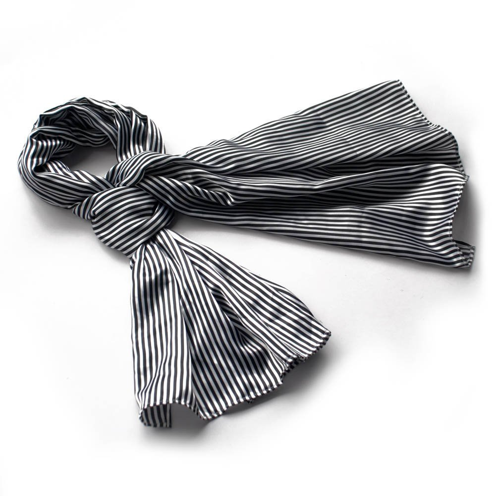 BRA-SCA01025-L Brando Black & White Stripe Elegant Fashion Soft Natural Silk Scarf(Large)
